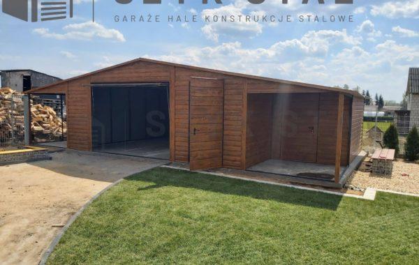 Garaż drewnopodobny – złoty dąb – 1 stanowisko + wiata + schowek
