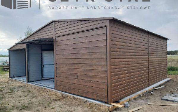 Garaż drewnopodobny 2 stanowiska + wiata – ciemny orzech