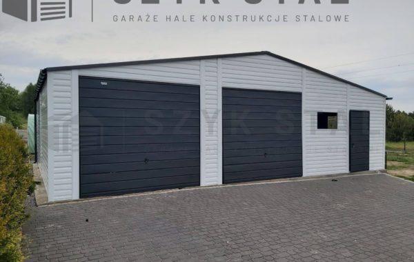 Garaż biały + szary antracytowy + automatyka + blachodachówka