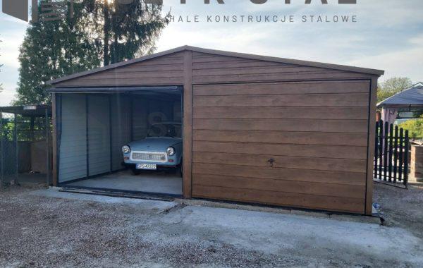 Garaż ciemny orzech – 2 stanowiska + blachodachówka