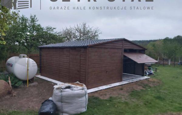 Garaż drewnopodobny – ciemny orzech – 2 stanowiska + rynny + blacho dachówka