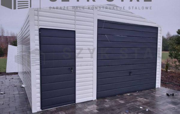Garaż biały + szary antracytowy