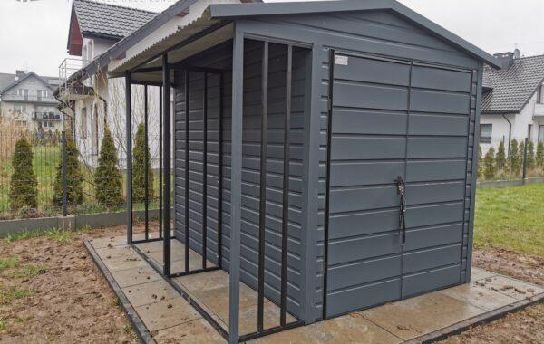 Pomieszczenie gospodarcze 3 x 2m + wiatka na drewno 3 x 0,6m RAL 7016