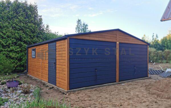 Garaż wzmacniany 6 x 5,80m drewnopodobny + antracyt 7016 mat, rynny, FILC, okna