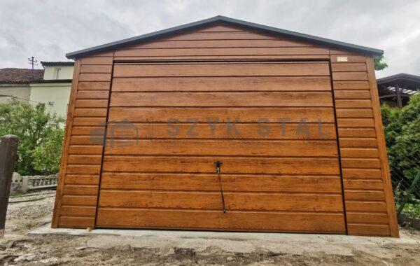 Garaż blaszany 4x6m, multigloss, 1x brama uchylna, 1x drzwi 90cm, dach antracyt RAL 7016MAT
