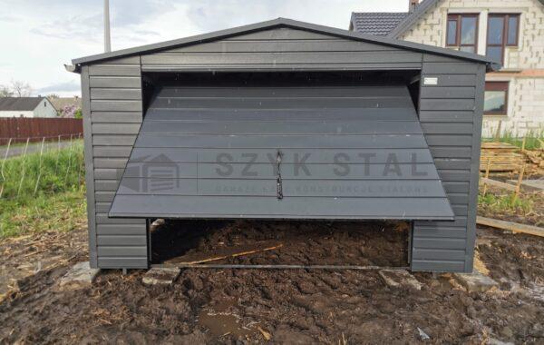 Garaż blaszany 4x6m, antracyt 7016MAT, 1x brama uchylna, FILC