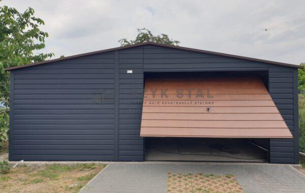 Garaż 6x5m + wiatka, automatyka, Ral7016 + Ciemny Orzech MAT