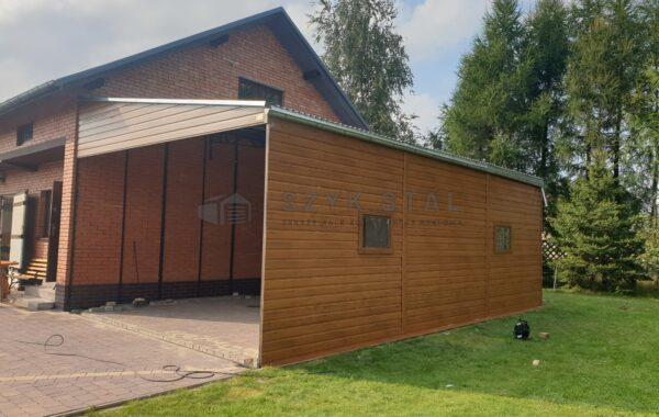 Wiata drewno podobna Multigloss, 9×5,5m, ściana boczna 3m, konstrukcja wzmacniana, pełne okucia, kotwiczenie do sciany i podłoża